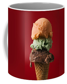 Three Scoop Ice Cream On Red Background Coffee Mug