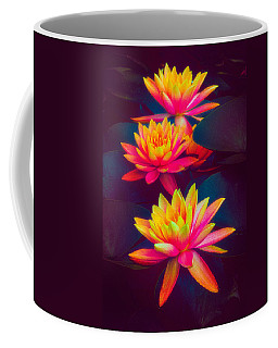 Coffee Mug featuring the photograph Three Waterlilies by Chris Lord
