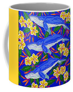 Coffee Mug featuring the painting Three Whales  by Debbie Chamberlin