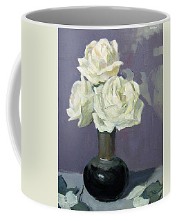 Three White Roses,abstract Background Coffee Mug