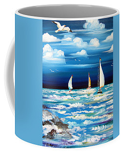 Three White Sails And A Seagull Coffee Mug