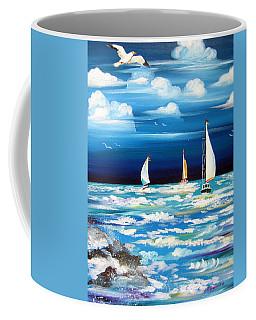 Three White Sails And A Seagull Coffee Mug