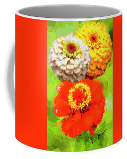 Three Zinnia Flowers. Coffee Mug