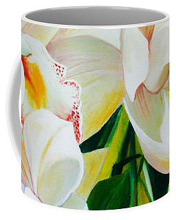 Coffee Mug featuring the painting Threes A Crowd by Chris Hobel