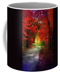 Through The Crimson Leaves To A Golden Beginning Coffee Mug