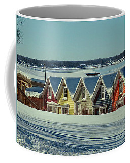 Winter View Ti Park Boathouses Coffee Mug