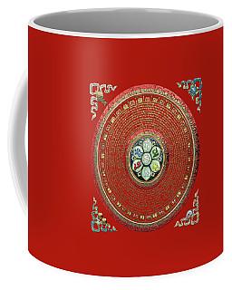 Tibetan Om Mantra Mandala In Gold On Black And Red Coffee Mug
