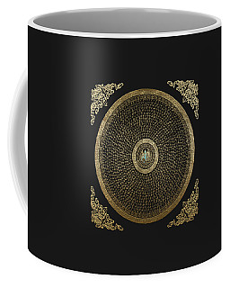 Tibetan Thangka - Green Tara Goddess Mandala With Mantra In Gold On Black Coffee Mug