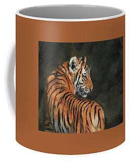 Coffee Mug featuring the painting Tiger At Night by David Stribbling