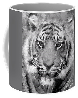 Tiger Black And White Coffee Mug by Roger Lighterness