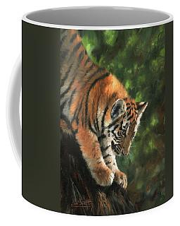 Tiger Cub Climbing Down Tree Coffee Mug