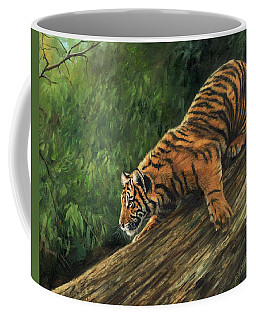 Coffee Mug featuring the painting Tiger Descending Tree by David Stribbling