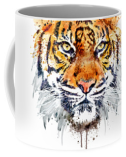 Coffee Mug featuring the mixed media Tiger Face Close-up by Marian Voicu
