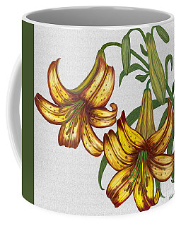 Coffee Mug featuring the digital art Tiger Lily Blossom  by Walter Colvin