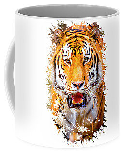 Coffee Mug featuring the photograph Tiger On The Hunt by David Millenheft