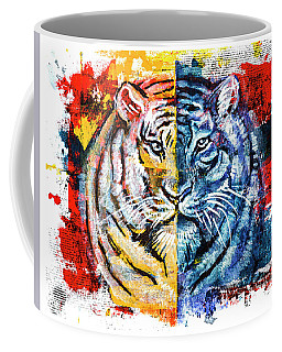Coffee Mug featuring the painting Tiger, Original Acrylic Painting by Ariadna De Raadt