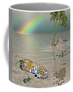 Tiger-rainbow-palm Tree On Ocean Coffee Mug