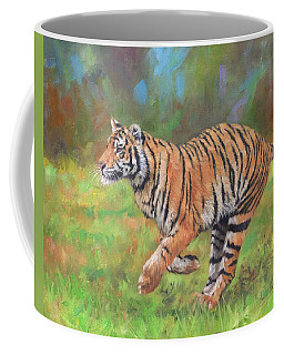 Coffee Mug featuring the painting Tiger Running by David Stribbling