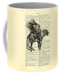 Tiger With Angel Wings In Black And White Coffee Mug