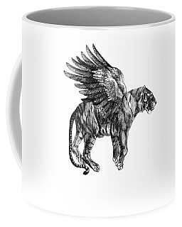 Tiger With Wings, Black And White Illustration Coffee Mug