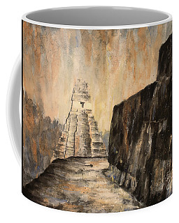 Coffee Mug featuring the painting Tikal Ruins- Guatemala by Ryan Fox