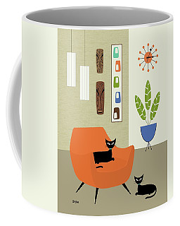 Coffee Mug featuring the digital art Tikis On The Wall by Donna Mibus