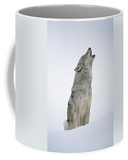 Timber Wolf Portrait Howling In Snow Coffee Mug