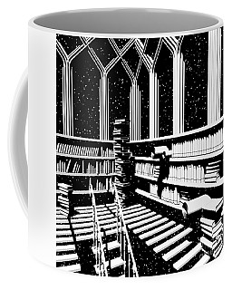 Coffee Mug featuring the digital art Time Aerials Mind Library by Russell Kightley