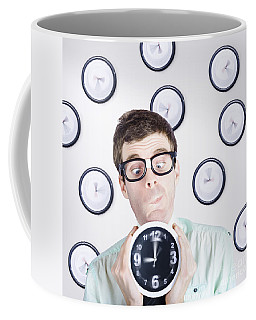 Time Concept Of A Businessman Holding Quick Clock Coffee Mug
