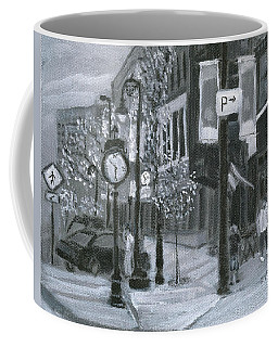 Coffee Mug featuring the painting Time? by Linda Feinberg
