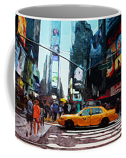 Times Square Taxi- Art By Linda Woods Coffee Mug
