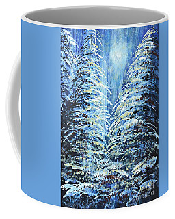 Coffee Mug featuring the painting Tim's Winter Forest by Holly Carmichael