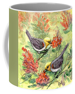 Coffee Mug featuring the painting Tiny Verdin In Honeysuckle by Marilyn Smith