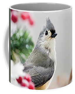 Coffee Mug featuring the photograph Titmouse Bird Portrait by Christina Rollo
