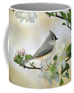 Coffee Mug featuring the mixed media Titmouse In Blossoms 1 by Lori Deiter
