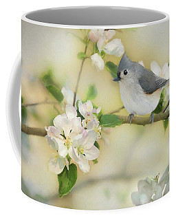 Coffee Mug featuring the mixed media Titmouse In Blossoms 2 by Lori Deiter