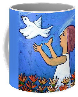Coffee Mug featuring the painting To Fly Free by Winsome Gunning