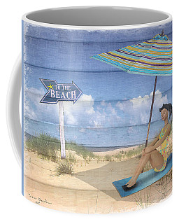 To The Beach Coffee Mug by Nina Bradica