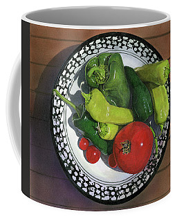 Coffee Mug featuring the painting Tomatoes And Peppers  by John Dyess