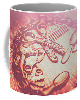Toned Image Hair Styling Toys Surrounded By Chain On Table Coffee Mug