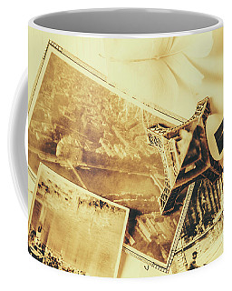 Toned Image Of Eiffel Tower And Photographs On Table Coffee Mug
