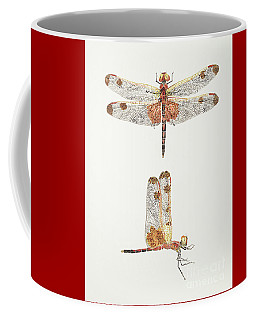 Top And Side Views Of A Male Calico Pennant Dragonfly Coffee Mug