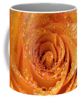 Top View Of An Orange Rose With Droplets Coffee Mug