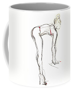 Coffee Mug featuring the mixed media Topknot - Female Nude by Carolyn Weltman