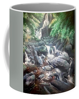Coffee Mug featuring the painting Torc Waterfall County Kerry Ireland by Paul Weerasekera