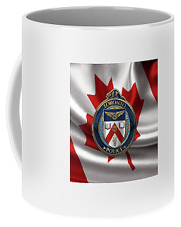 Coffee Mug featuring the digital art Toronto Police Service  -  T P S  Emblem Over Canadian Flag by Serge Averbukh