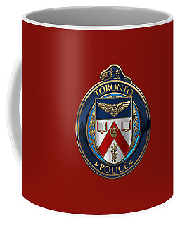 Coffee Mug featuring the digital art Toronto Police Service  -  T P S  Emblem Over Red Velvet by Serge Averbukh