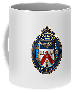 Coffee Mug featuring the digital art Toronto Police Service  -  T P S  Emblem Over White Leather by Serge Averbukh