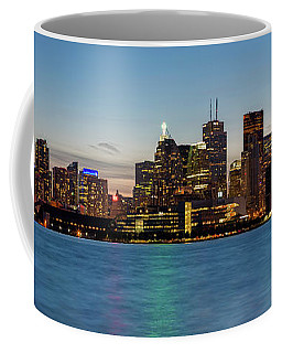 Coffee Mug featuring the photograph Toronto Skyline At Dusk Panoramic by Adam Romanowicz