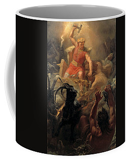 Coffee Mug featuring the painting Tor's Fight With The Giants by Marten Eskil Winge